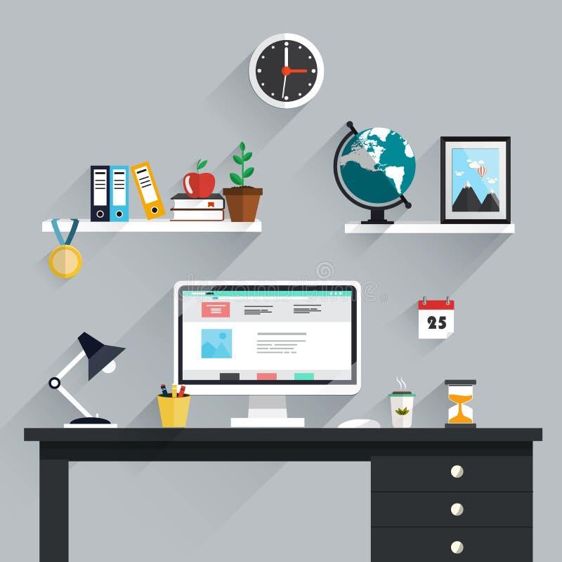 Χώρος εργασίας, εικονίδια εργασιακών χώρων και στοιχεία στο minimalistic ύφος διανυσματική απεικόνιση