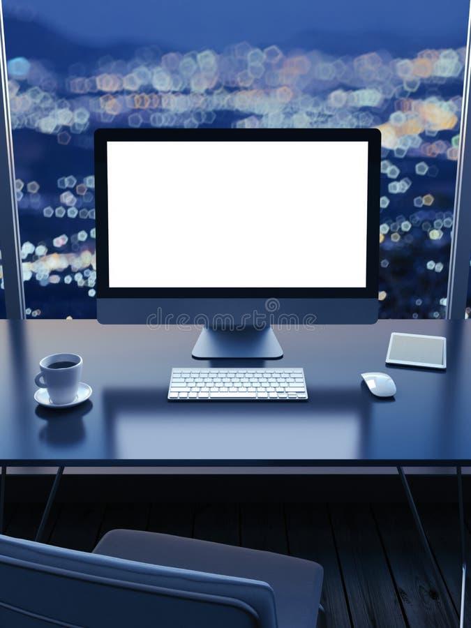 Χώρος εργασίας με μια άποψη πόλεων από το παράθυρο τη νύχτα στοκ εικόνες