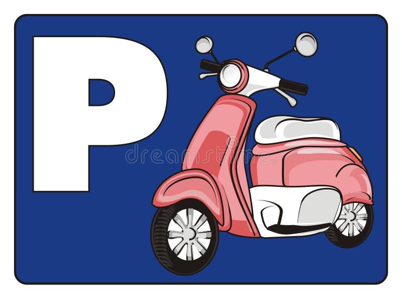 Χώρος στάθμευσης για το μοτοποδήλατο απεικόνιση αποθεμάτων