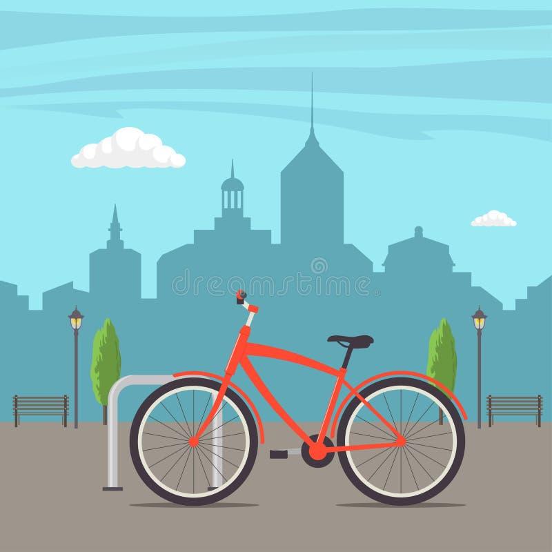 Χώρος στάθμευσης ποδηλάτων σε μια οδό πόλεων Ποδήλατο στο αστικό υπόβαθρο Χαριτωμένο κόκκινο ποδήλατο, που σταθμεύουν στην πόλη,  διανυσματική απεικόνιση