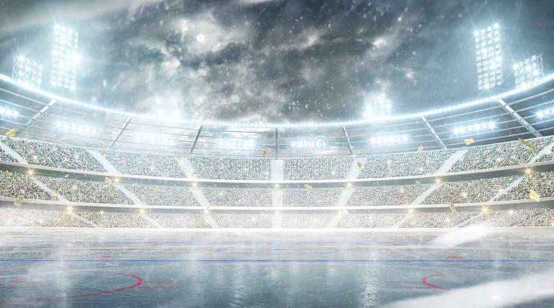 Χώρος χόκεϋ πάγου Υπαίθριο χειμερινό στάδιο Αίθουσα παγοδρομίας νύχτας Χιονοπτώσεις στο στάδιο στοκ φωτογραφίες με δικαίωμα ελεύθερης χρήσης