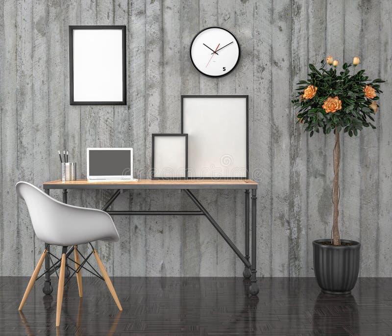 Χλεύη αφισών επάνω, υπολογιστής γραφείου εργασίας, με το lap-top, τρισδιάστατη απεικόνιση απεικόνιση αποθεμάτων