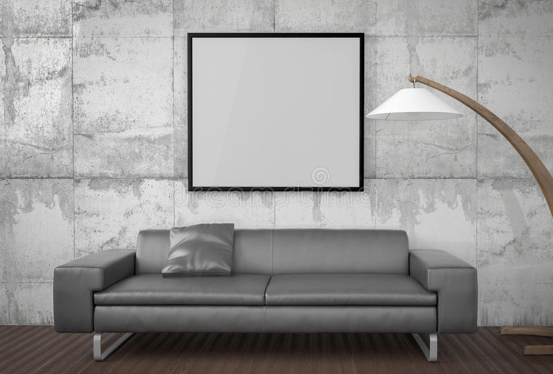 Χλεύη αφισών επάνω, υπολογιστής γραφείου εργασίας, με το lap-top, τρισδιάστατη απεικόνιση ελεύθερη απεικόνιση δικαιώματος