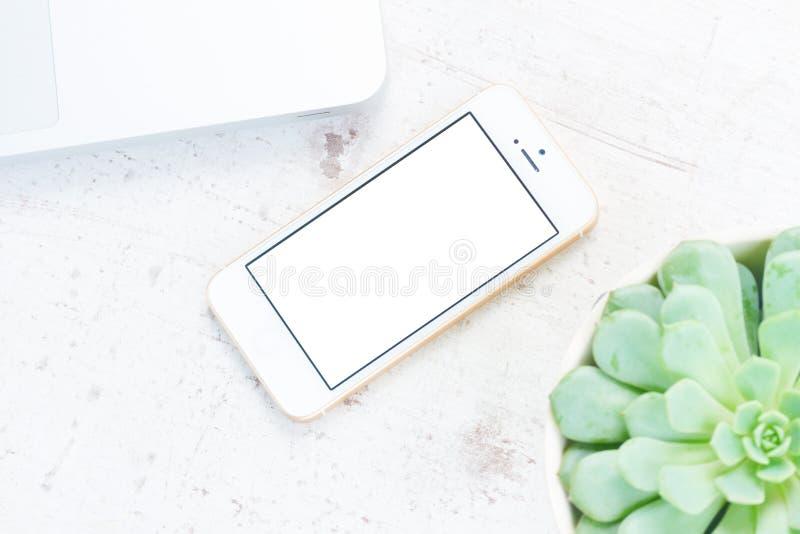 Χλεύη επάνω με το άσπρο τηλέφωνο στοκ εικόνες με δικαίωμα ελεύθερης χρήσης