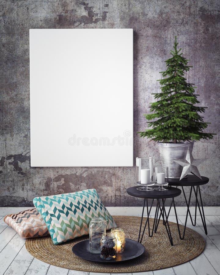 Χλεύη επάνω στην αφίσα στο συμπαγή τοίχο με τη διακόσμηση christamas, στοκ εικόνα
