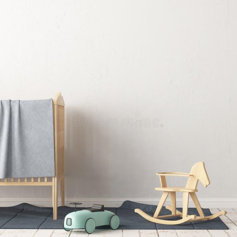 Χλεύη επάνω στην αφίσα στο δωμάτιο παιδιών ` s Δωμάτιο παιδιών ` s στο Σκανδιναβικό ύφος τρισδιάστατη απεικόνιση ελεύθερη απεικόνιση δικαιώματος