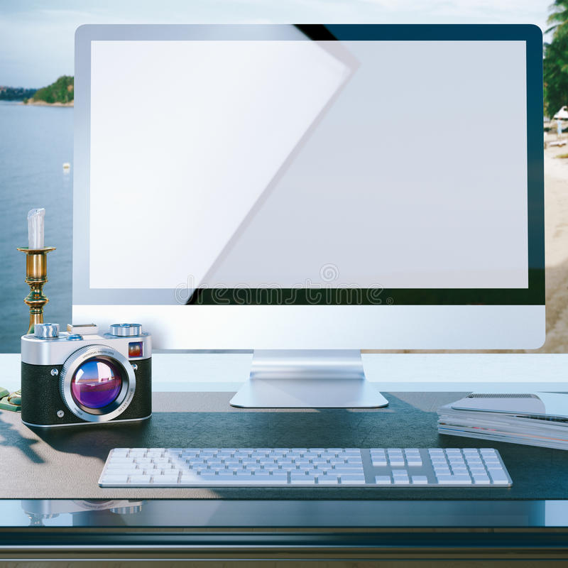 Χλεύη επάνω στην αφίσα του υπολογιστή γραφείου εργασίας φωτογράφων διανυσματική απεικόνιση