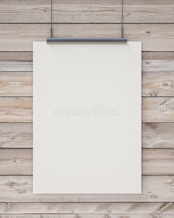 Χλεύη επάνω στην κενή άσπρη κρεμώντας αφίσα στον οριζόντιο ξύλινο τοίχο σανίδων, υπόβαθρο στοκ φωτογραφίες