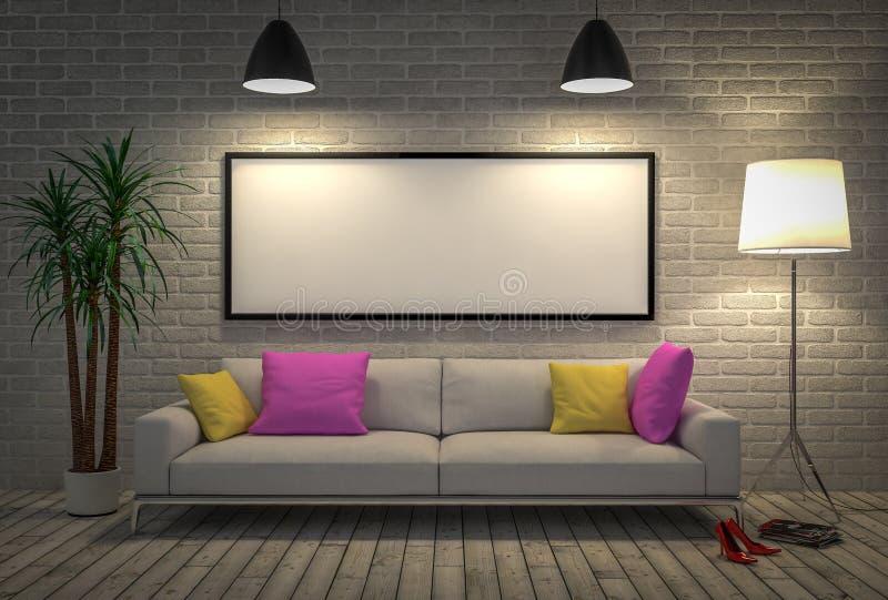 Χλεύη επάνω στην κενή αφίσα στον τοίχο με το λαμπτήρα και τον καναπέ ελεύθερη απεικόνιση δικαιώματος