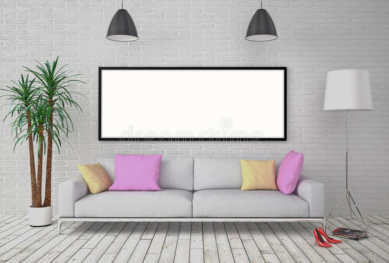 Χλεύη επάνω στην κενή αφίσα στον τοίχο με το λαμπτήρα και τον καναπέ απεικόνιση αποθεμάτων