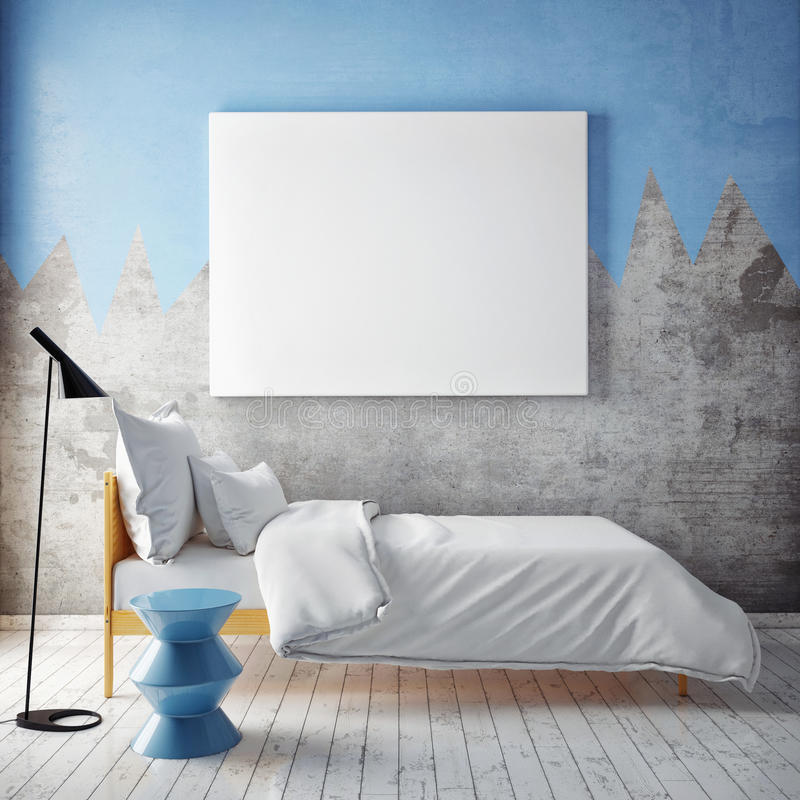 Χλεύη επάνω στην κενή αφίσα στον τοίχο της κρεβατοκάμαρας, απεικόνιση αποθεμάτων
