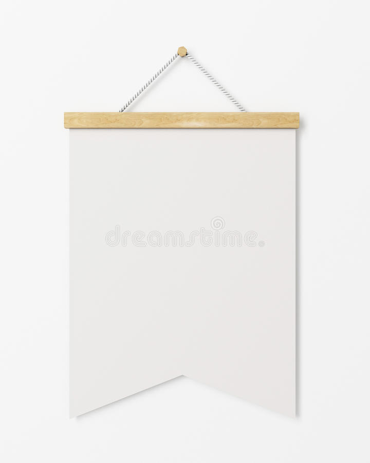 Χλεύη επάνω στην κενή σημαία αφισών με την ξύλινη ένωση πλαισίων στον άσπρο τοίχο, υπόβαθρο απεικόνιση αποθεμάτων