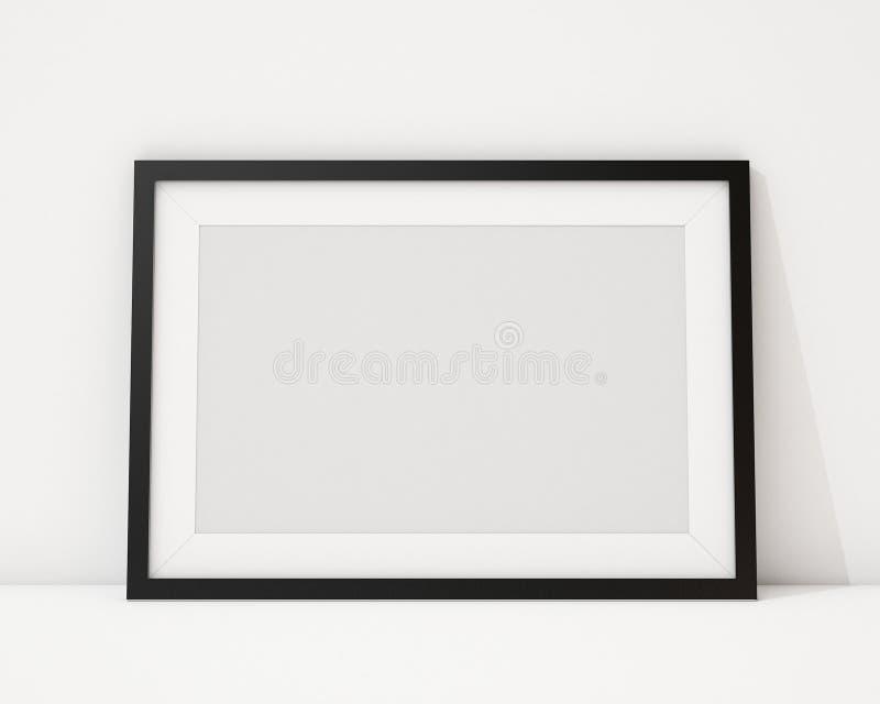 Χλεύη επάνω στο κενό μαύρο οριζόντιο πλαίσιο εικόνων στο άσπρο εσωτερικό υπόβαθρο απεικόνιση αποθεμάτων
