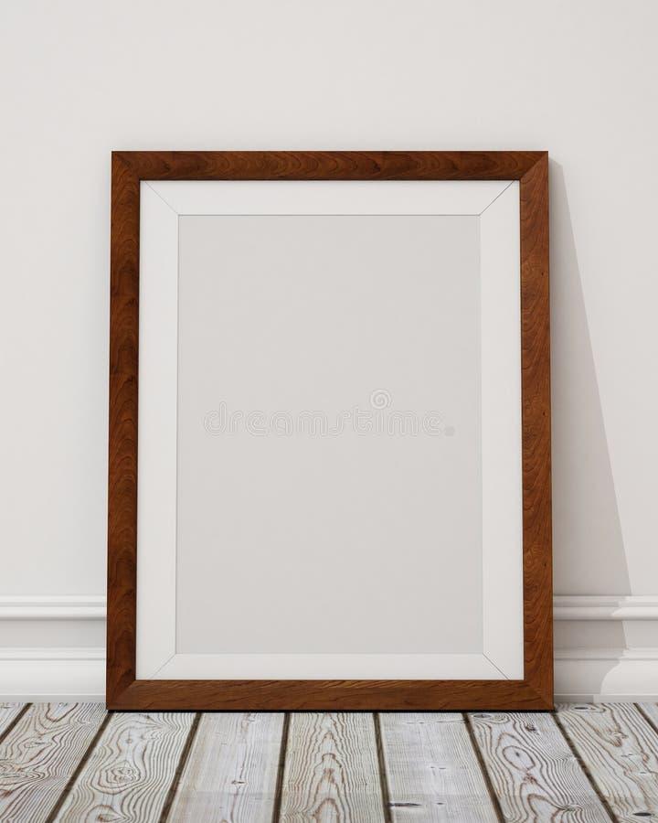 Χλεύη επάνω στο κενό ξύλινο πλαίσιο εικόνων στον τοίχο και το πάτωμα διανυσματική απεικόνιση