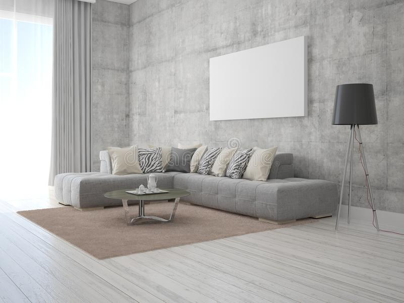 Χλεύη επάνω στο μοντέρνο καθιστικό αφισών με έναν μοντέρνο καναπέ απεικόνιση αποθεμάτων