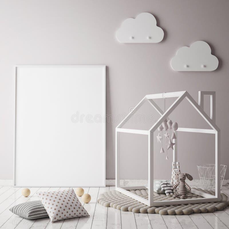 Χλεύη επάνω στο πλαίσιο αφισών στην κρεβατοκάμαρα παιδιών, Σκανδιναβικό εσωτερικό υπόβαθρο ύφους, ελεύθερη απεικόνιση δικαιώματος