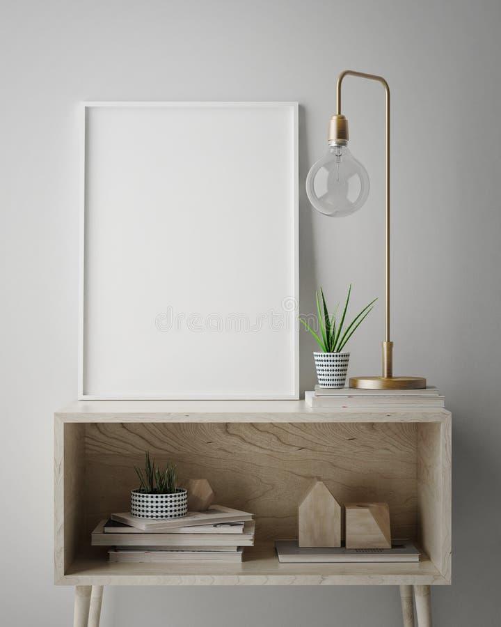 Χλεύη επάνω στο πλαίσιο αφισών στο εσωτερικό υπόβαθρο hipster, Σκανδιναβικό ύφος, διανυσματική απεικόνιση