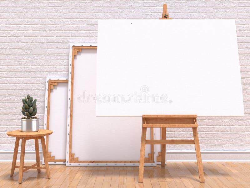 Χλεύη επάνω στο πλαίσιο καμβά με τις εγκαταστάσεις, easel, το πάτωμα και τον τοίχο τρισδιάστατος δώστε απεικόνιση αποθεμάτων