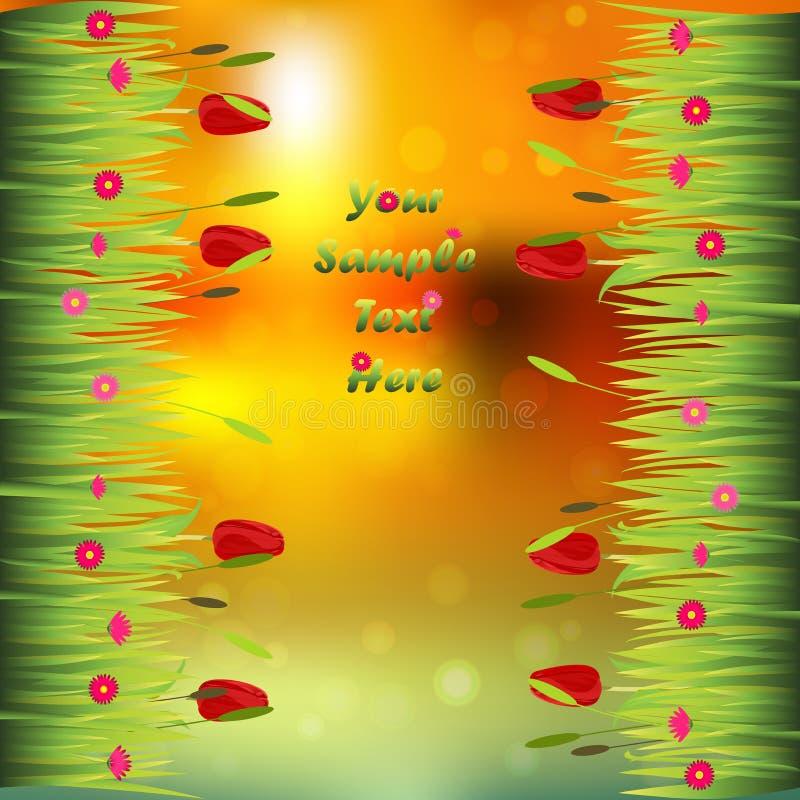 Χλόη με τα λουλούδια διανυσματική απεικόνιση