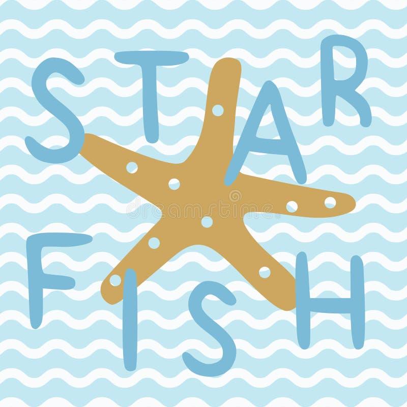 Ψάρια αστεριών στην μπλε ναυτική ωκεάνια αφίσα στοκ εικόνες