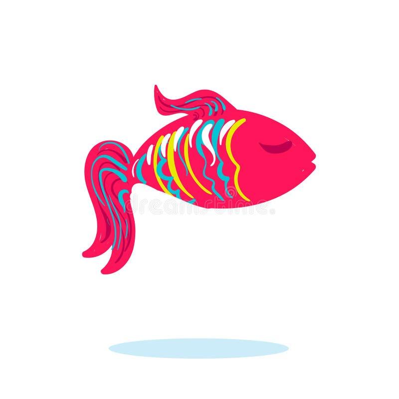 Ψάρια θάλασσας στο ρόδινο χρώμα που απομονώνεται με τις ιδιαίτερες προσοχές και τα ζωηρόχρωμα λωρίδες διανυσματική απεικόνιση