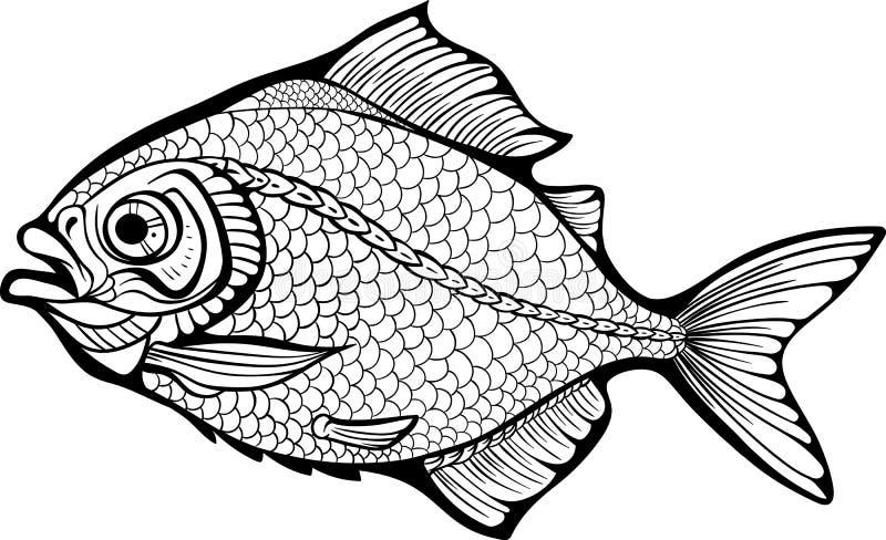 Ψάρια θάλασσας Χρωματίζοντας σελίδα διανυσματική απεικόνιση