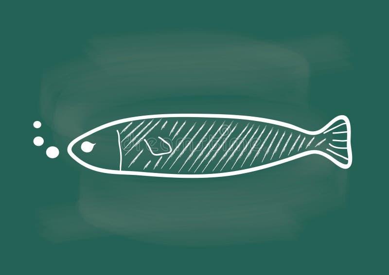 Ψάρια, διάνυσμα των ψαριών που επισύρουν την προσοχή στην κιμωλία πινάκων διανυσματική απεικόνιση