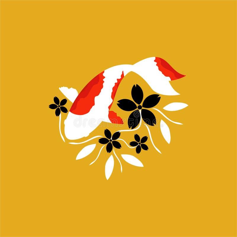 Ψάρια ιαπωνικά, λογότυπο της Ιαπωνίας λογότυπων Koi ψαριών Koi Τύχη, ευημερία και καλή τύχη στοκ φωτογραφία