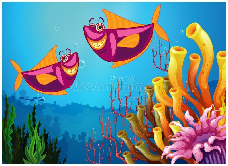 Ψάρια κάτω από τη θάλασσα κοντά στα ζωηρόχρωμα κοράλλια απεικόνιση αποθεμάτων