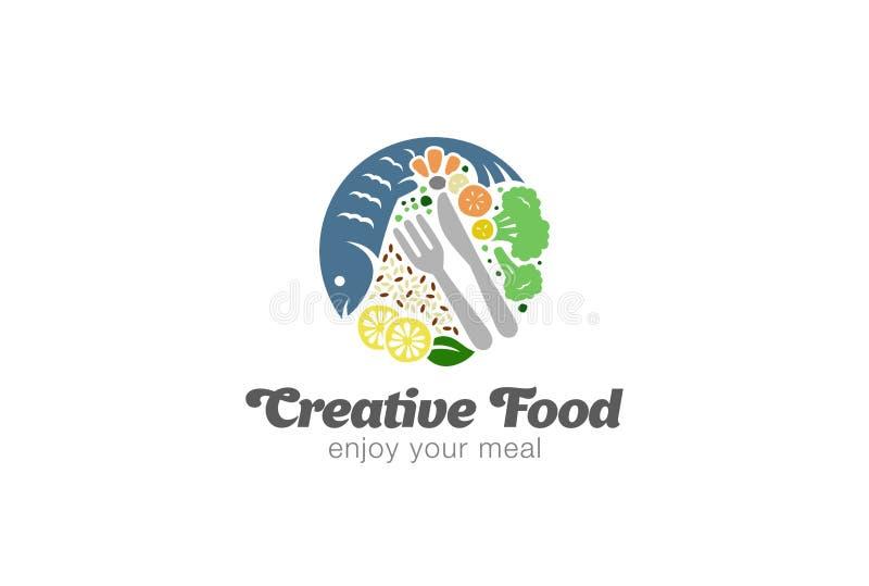 Ψάρια και λαχανικά στο λογότυπο πιάτων Τρόφιμα Logotype διατροφής κύκλων ελεύθερη απεικόνιση δικαιώματος