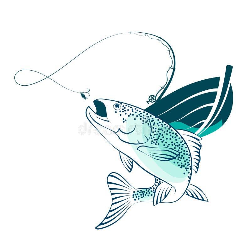Ψάρια και αλιευτικό σκάφος ελεύθερη απεικόνιση δικαιώματος