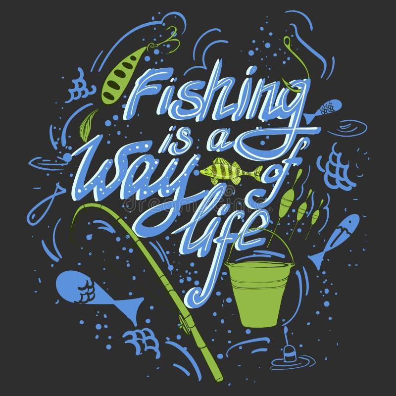 Ψάρια και εξοπλισμός αλιείας διανυσματική απεικόνιση