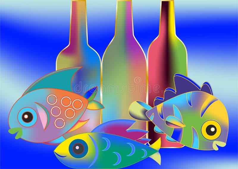 Ψάρια και μπουκάλια ελεύθερη απεικόνιση δικαιώματος