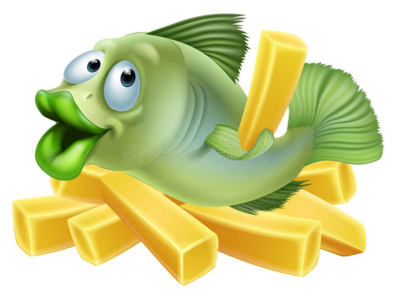 Ψάρια και τσιπ κινούμενων σχεδίων διανυσματική απεικόνιση