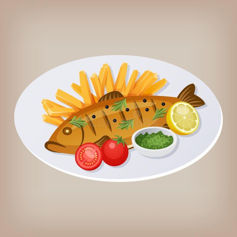 Ψάρια και τσιπ με τις ντομάτες, τη σάλτσα και μια φέτα του λεμονιού σε ένα πιάτο r διανυσματική απεικόνιση