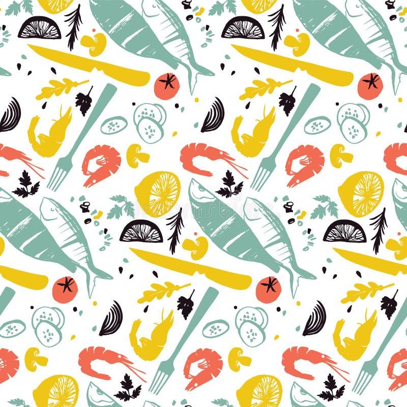Ψάρια και φυτικό σχέδιο με τις γαρίδες, την ντομάτα και τις ασημικές Υγιής κατανάλωση τρόπου ζωής Τρόφιμα αγοράς αγροτών διανυσματική απεικόνιση