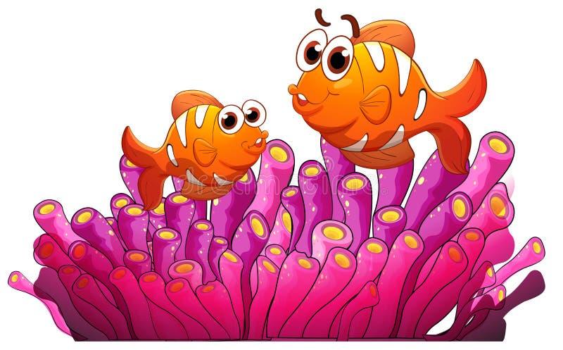Ψάρια και φύκι διανυσματική απεικόνιση