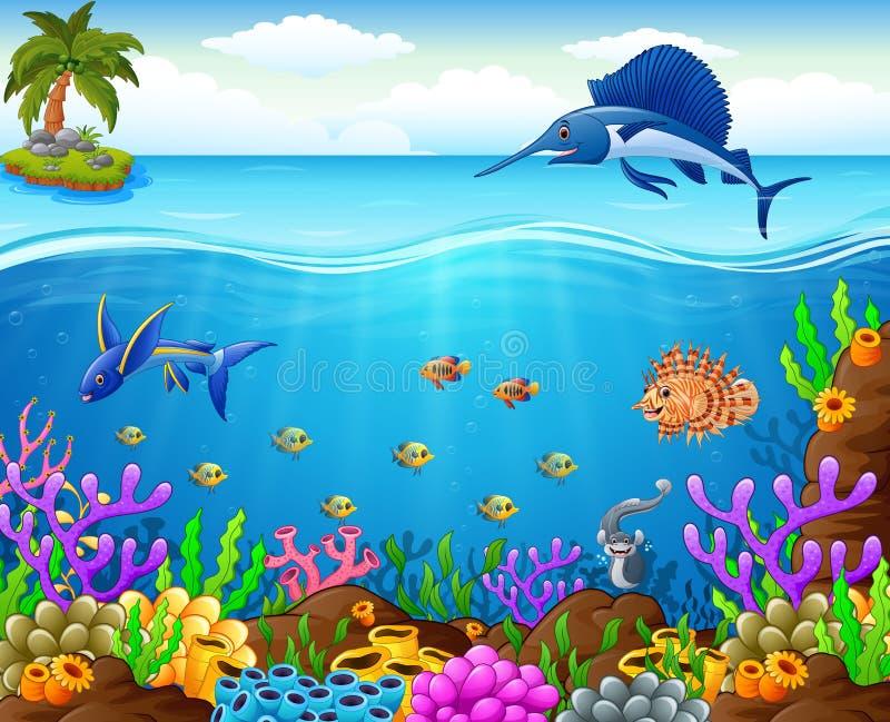 Ψάρια κινούμενων σχεδίων κάτω από τη θάλασσα απεικόνιση αποθεμάτων