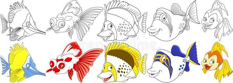 Ψάρια κινούμενων σχεδίων καθορισμένα ελεύθερη απεικόνιση δικαιώματος