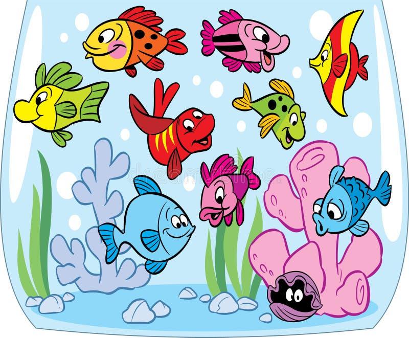Ψάρια κινούμενων σχεδίων στο ενυδρείο διανυσματική απεικόνιση