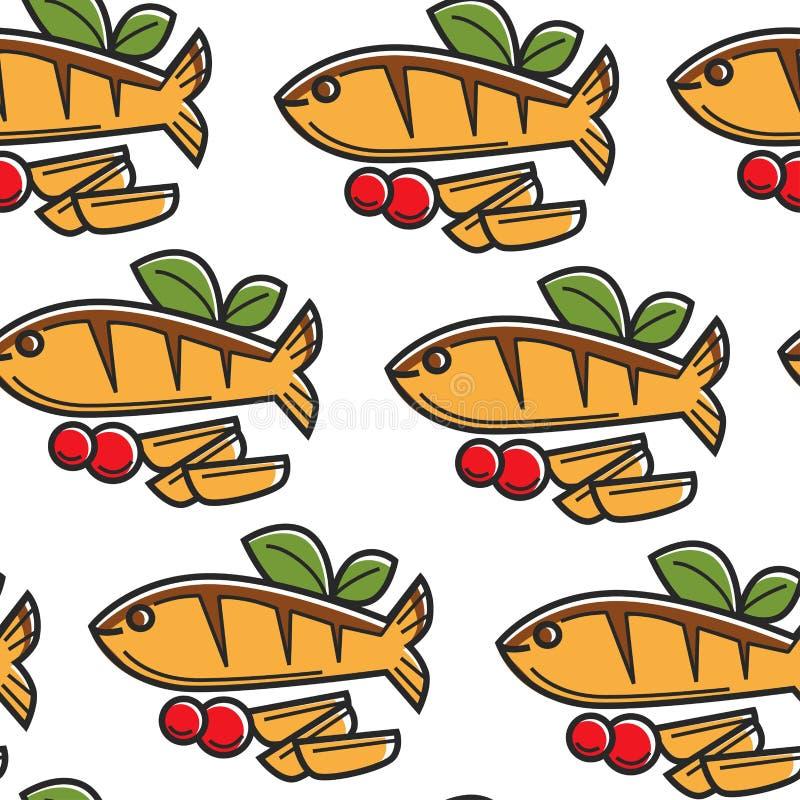 Ψάρια κουζίνας της Κύπρου θαλασσινών και άνευ ραφής σχέδιο πατατών απεικόνιση αποθεμάτων