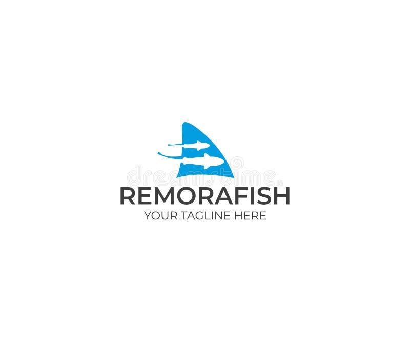 Ψάρια κωλυμάτων και πρότυπο λογότυπων πτερυγίων καρχαριών Διανυσματικό σχέδιο Sharksucker ελεύθερη απεικόνιση δικαιώματος