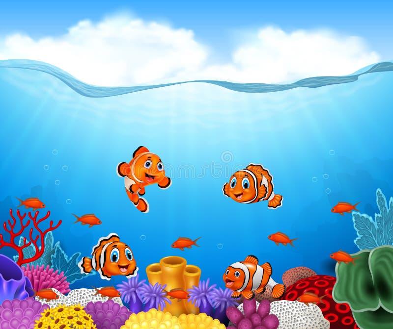 Ψάρια κλόουν κινούμενων σχεδίων ελεύθερη απεικόνιση δικαιώματος