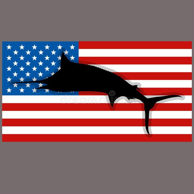 Ψάρια μαρλίν σκιαγραφιών στην αμερικανική σημαία υποβάθρου ελεύθερη απεικόνιση δικαιώματος