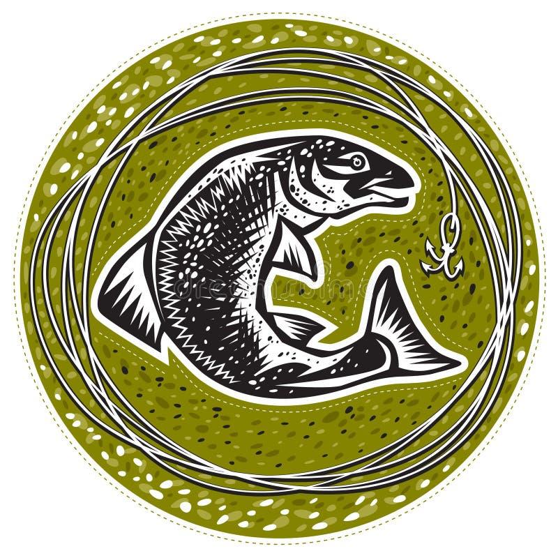 Ψάρια με έναν γάντζο διανυσματική απεικόνιση