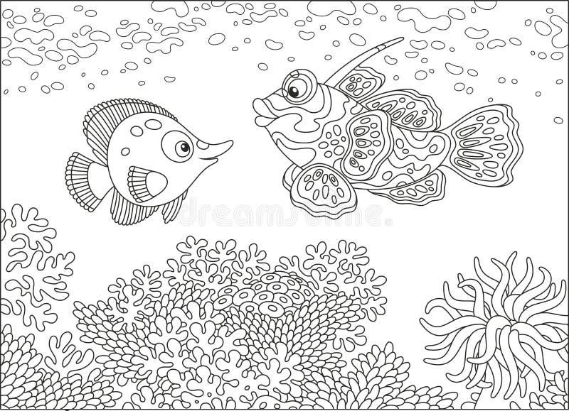 Ψάρια πεταλούδων και ψάρια κινεζικής γλώσσας ελεύθερη απεικόνιση δικαιώματος