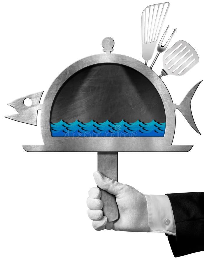 Ψάρια πινάκων που διαμορφώνονται με το χέρι του αρχιμάγειρα ελεύθερη απεικόνιση δικαιώματος