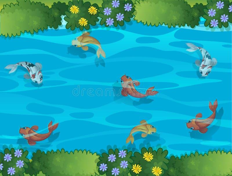 Ψάρια που κολυμπούν σε ένα ρεύμα ελεύθερη απεικόνιση δικαιώματος