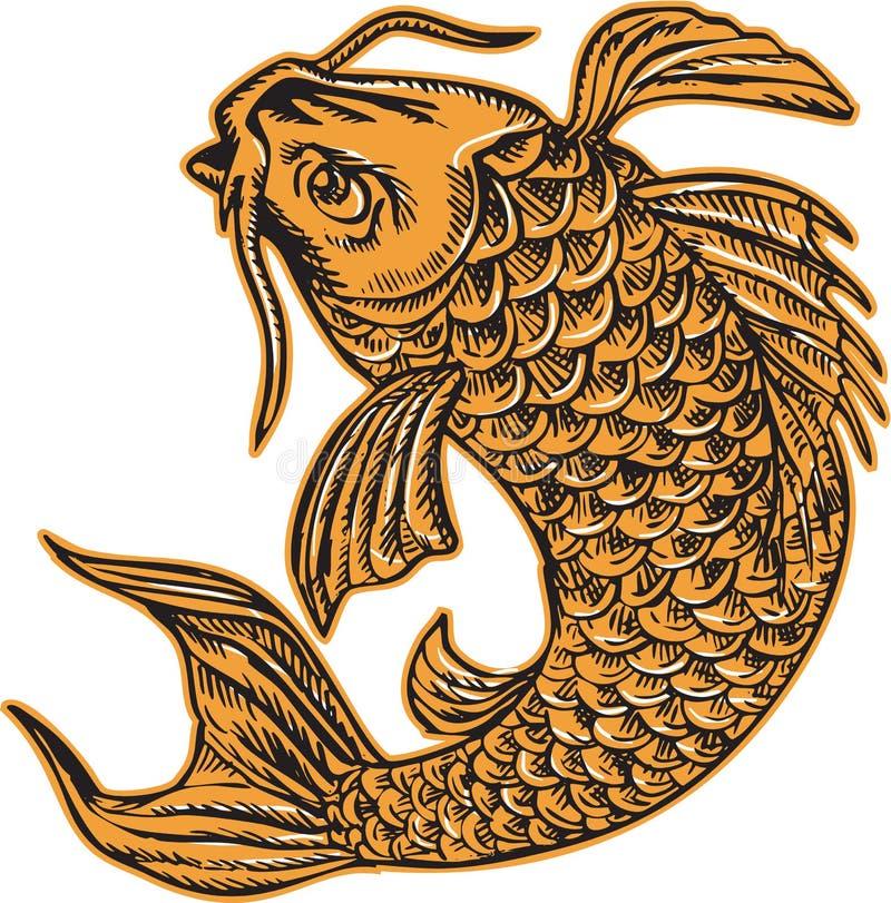 Ψάρια που πηδούν χαρακτική κυπρίνων Nishikigoi Koi διανυσματική απεικόνιση