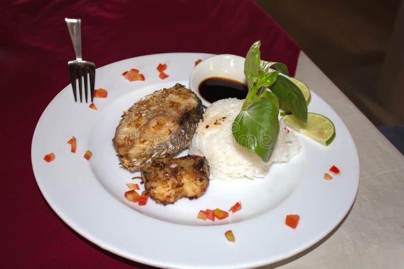 Ψάρια σε ένα άσπρο πιάτο με το ρύζι και τα πράσινα στοκ φωτογραφία